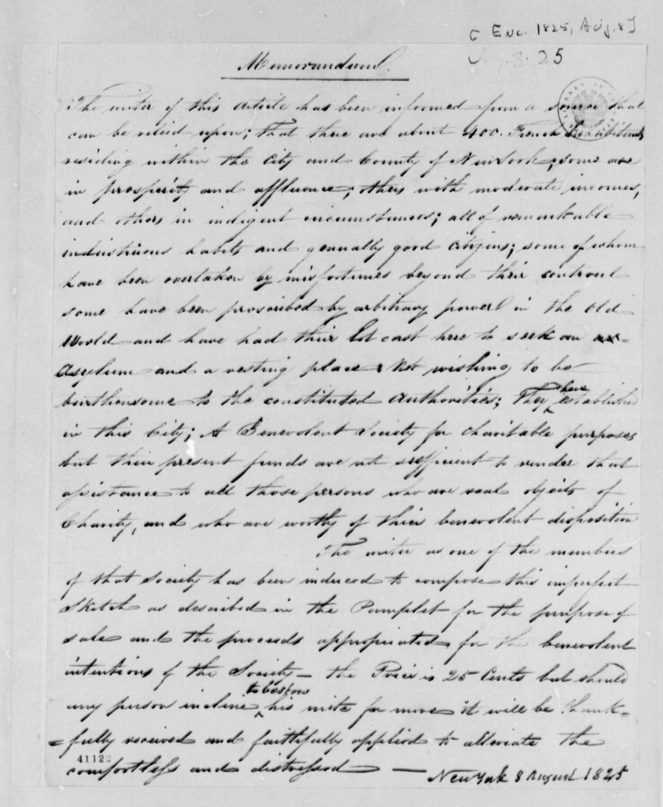 Gurdon S. Mumford to Thomas Jefferson, August 8, 1825, with Memorandum