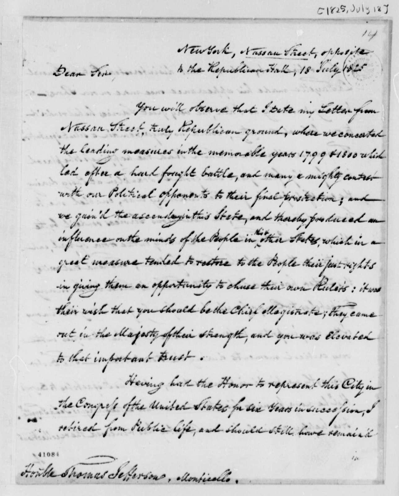 Gurdon S. Mumford to Thomas Jefferson, July 18, 1825