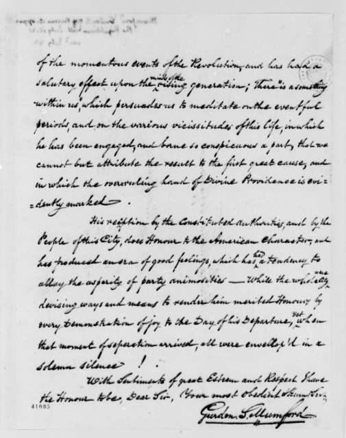Gurdon S. Mumford to Thomas Jefferson, July 18, 1825