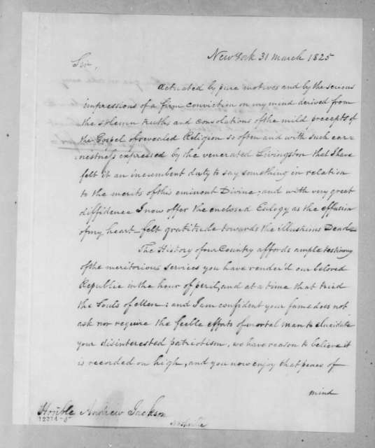 Gurdon Saltonstall Mumford to Andrew Jackson, March 31, 1825