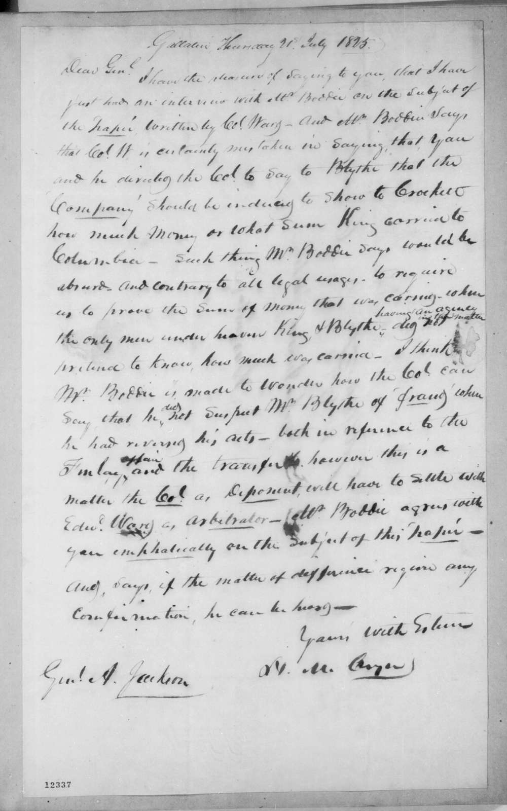 Hardy Murfree Cryer to Andrew Jackson, July 21, 1825