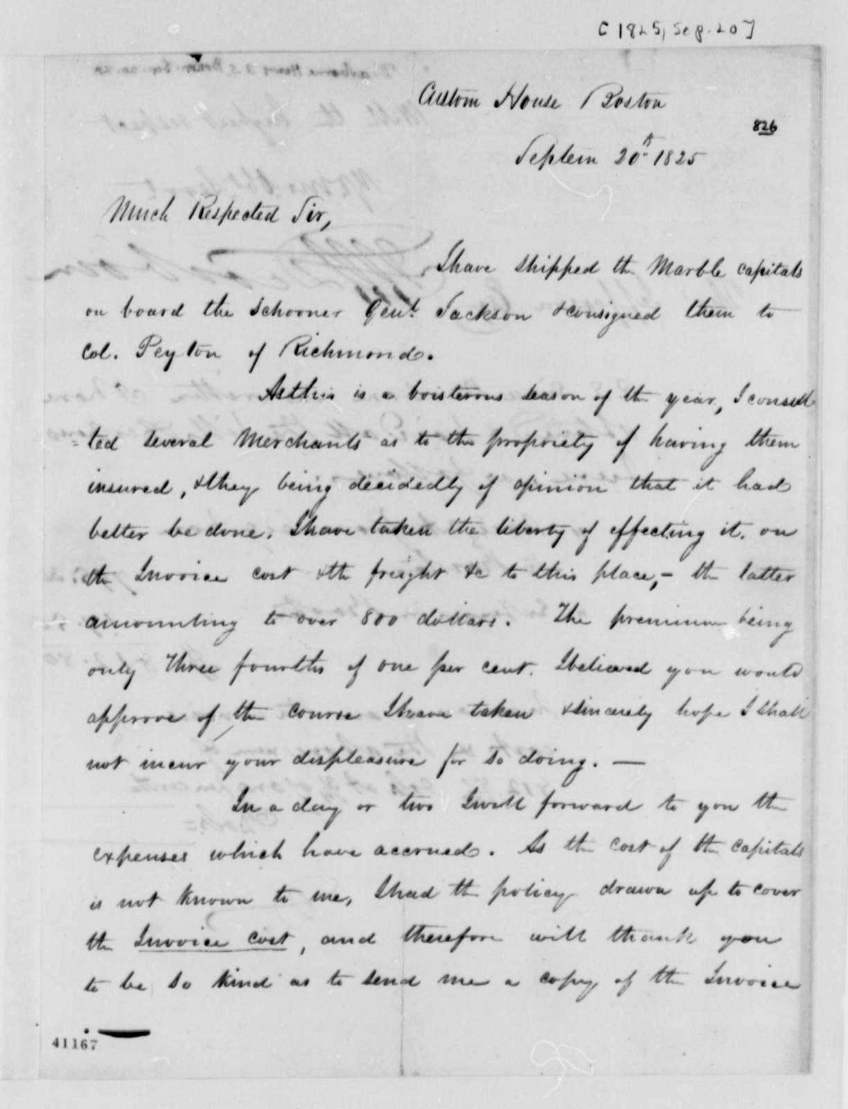 Henry A. S. Dearborn to Thomas Jefferson, September 20, 1825