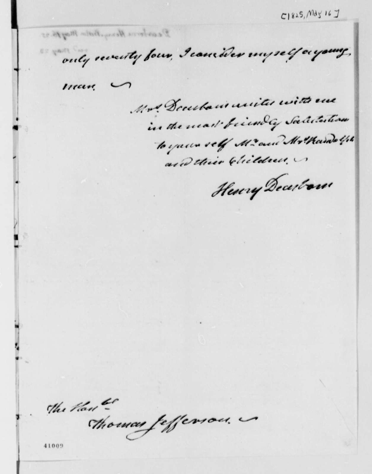 Henry Dearborn to Thomas Jefferson, May 16, 1825