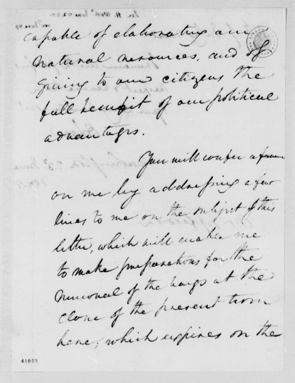 Henry Lee, Jr. to Thomas Jefferson, June 23, 1825