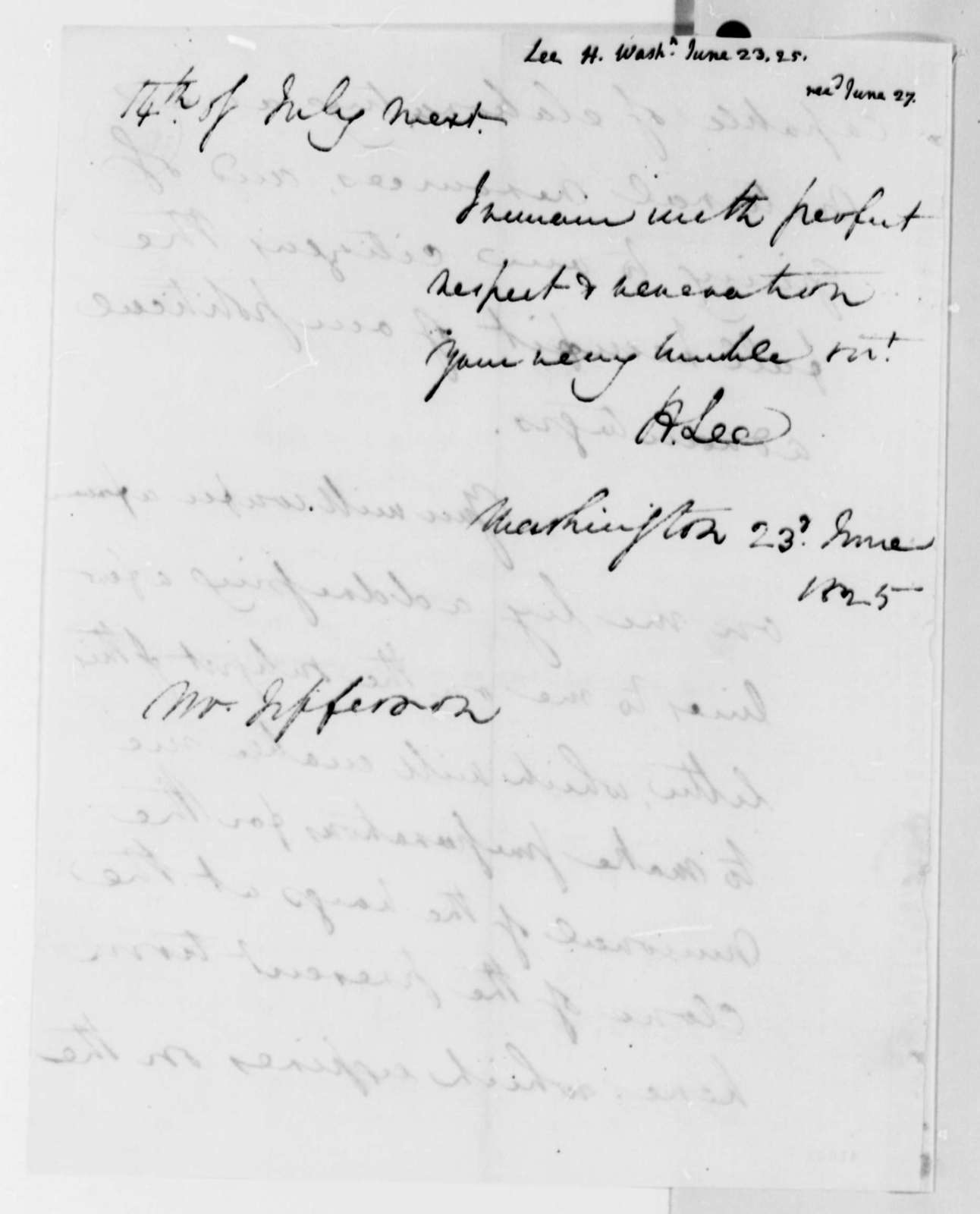 Henry Lee, Jr. to Thomas Jefferson, June 23, 1825