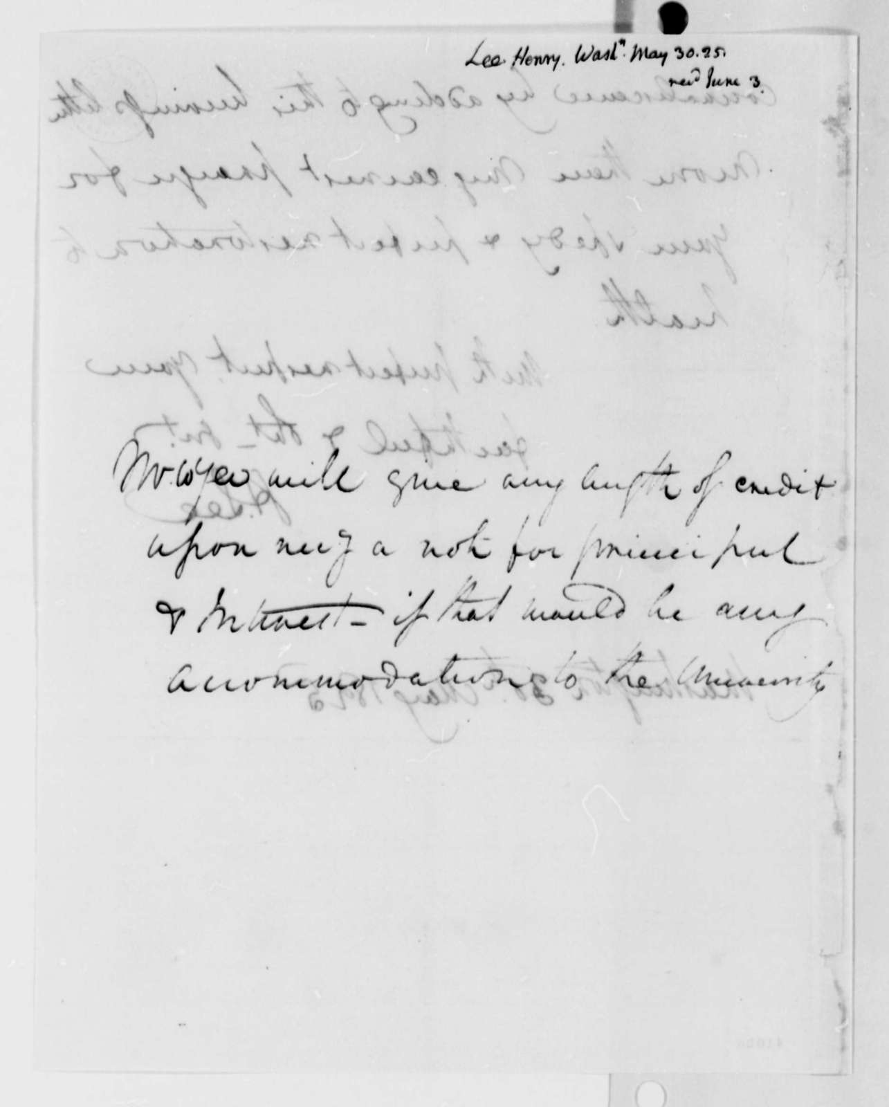 Henry Lee, Jr. to Thomas Jefferson, May 30, 1825