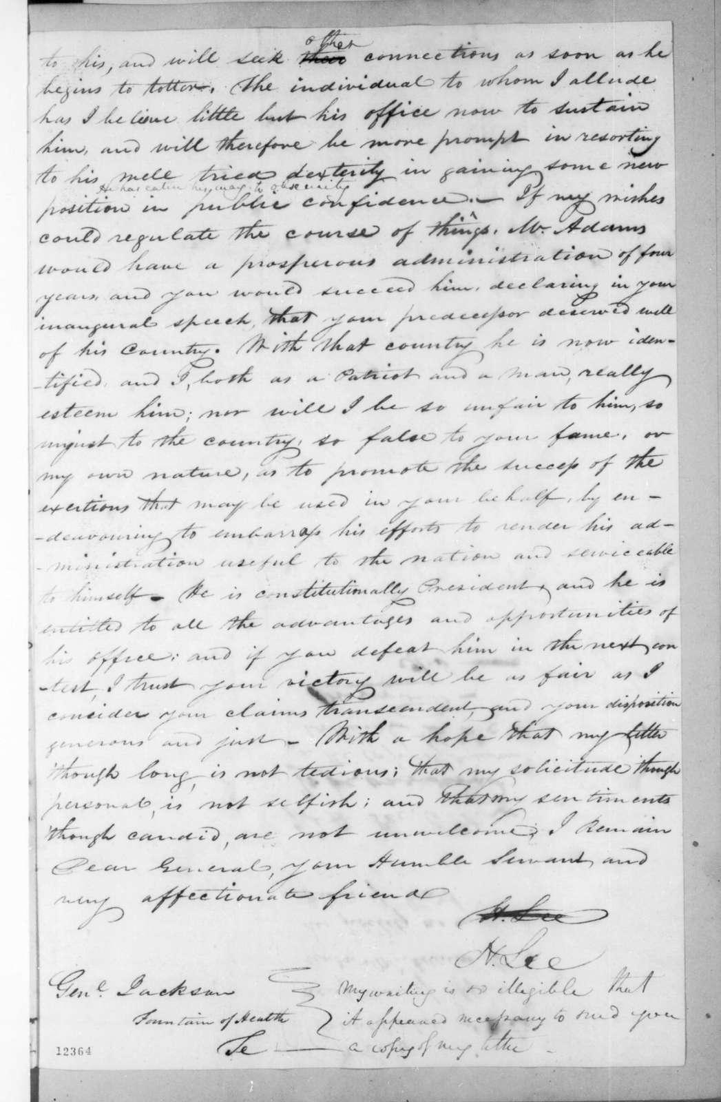 Henry Lee to Andrew Jackson, September 11, 1825