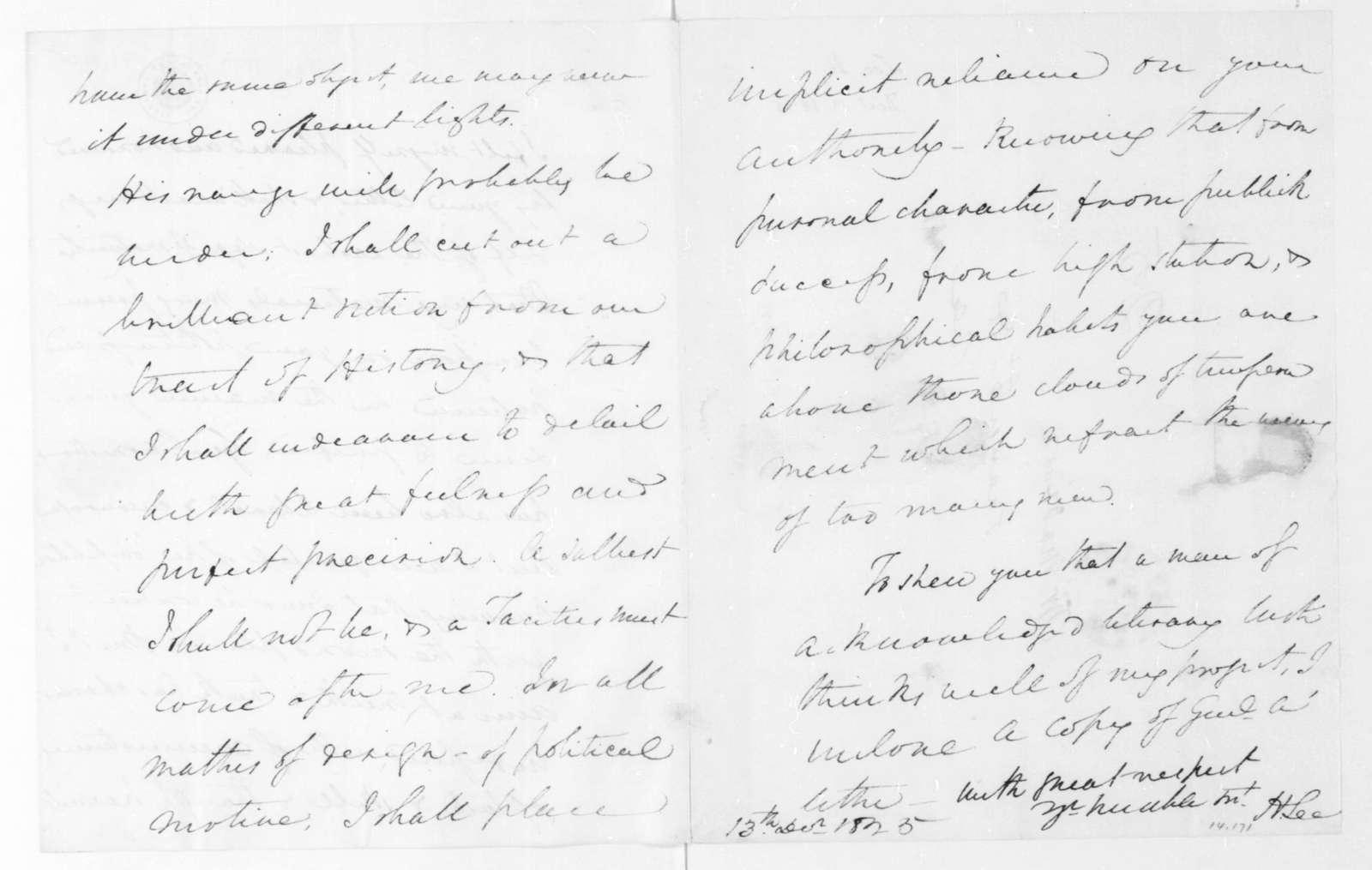 Henry Lee to James Madison, December 13, 1825.