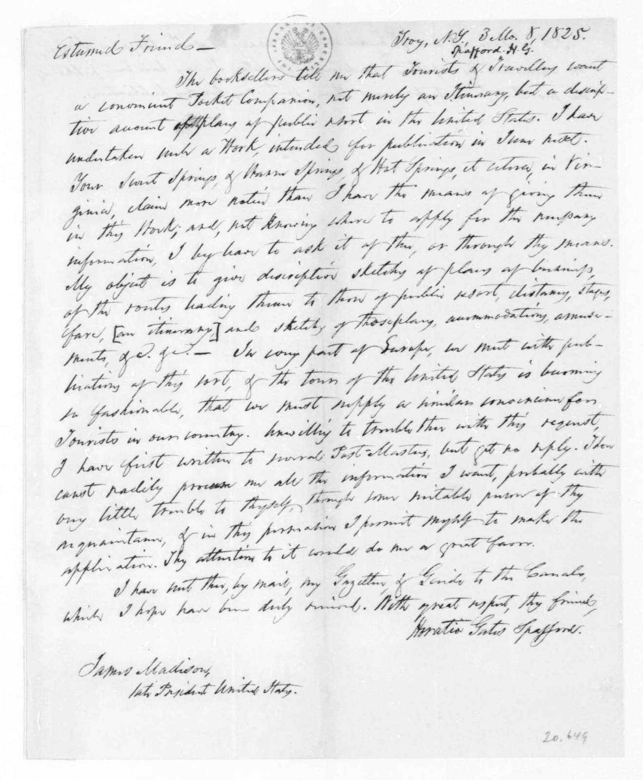 Horatio Gates Spafford to James Madison, March 8, 1825.