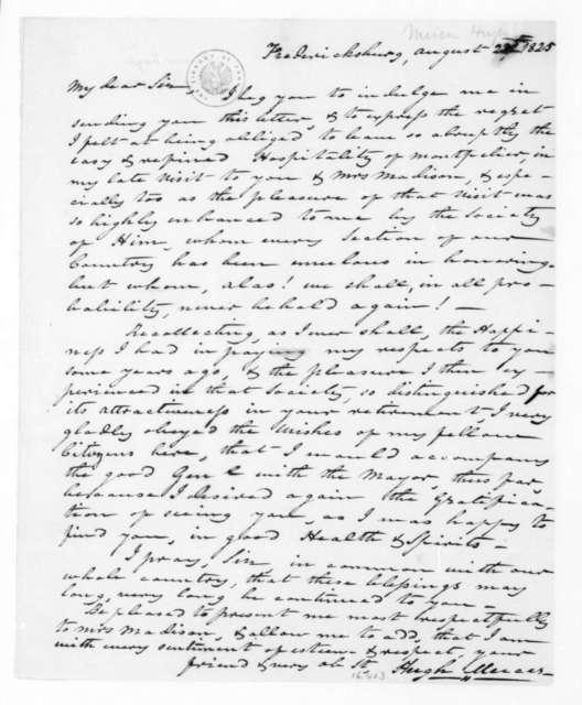 Hugh Mercer to James Madison, August 22, 1825.