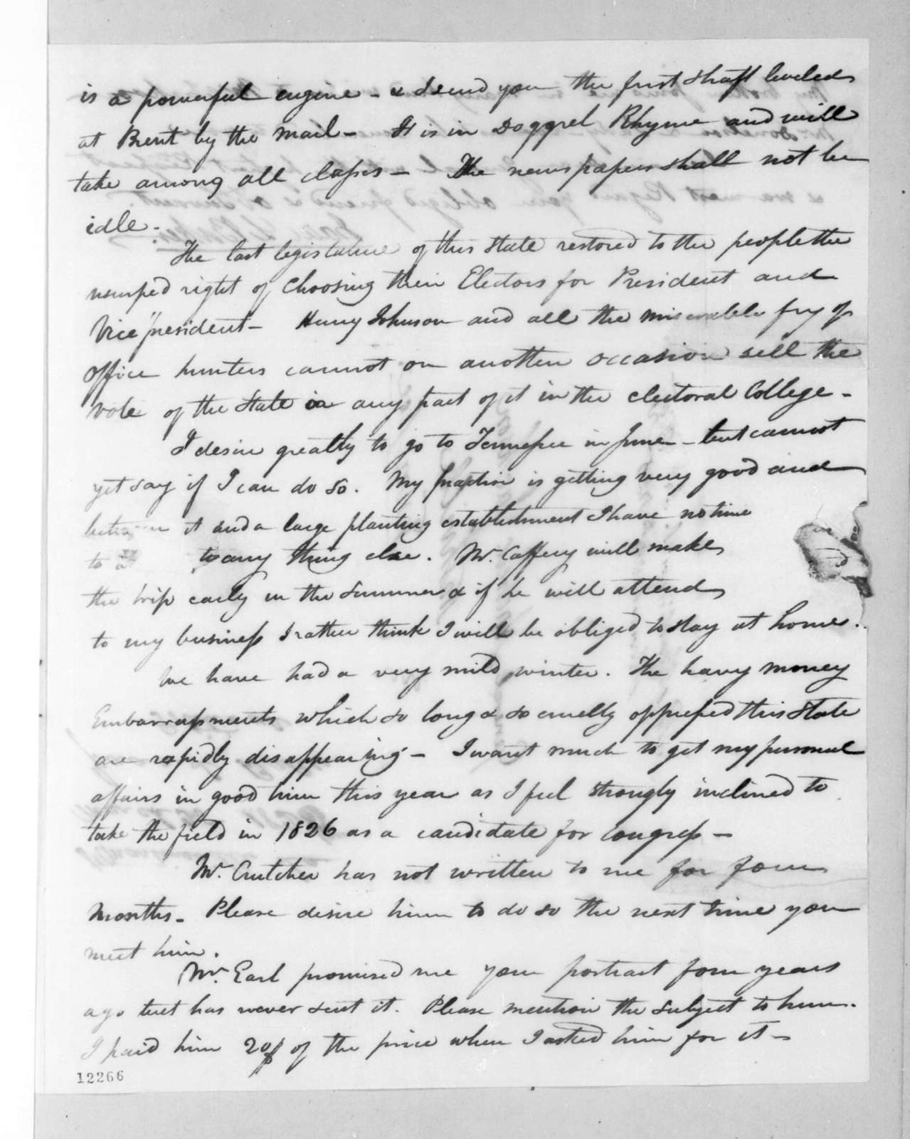 Isaac Lewis Baker to Andrew Jackson, March 21, 1825
