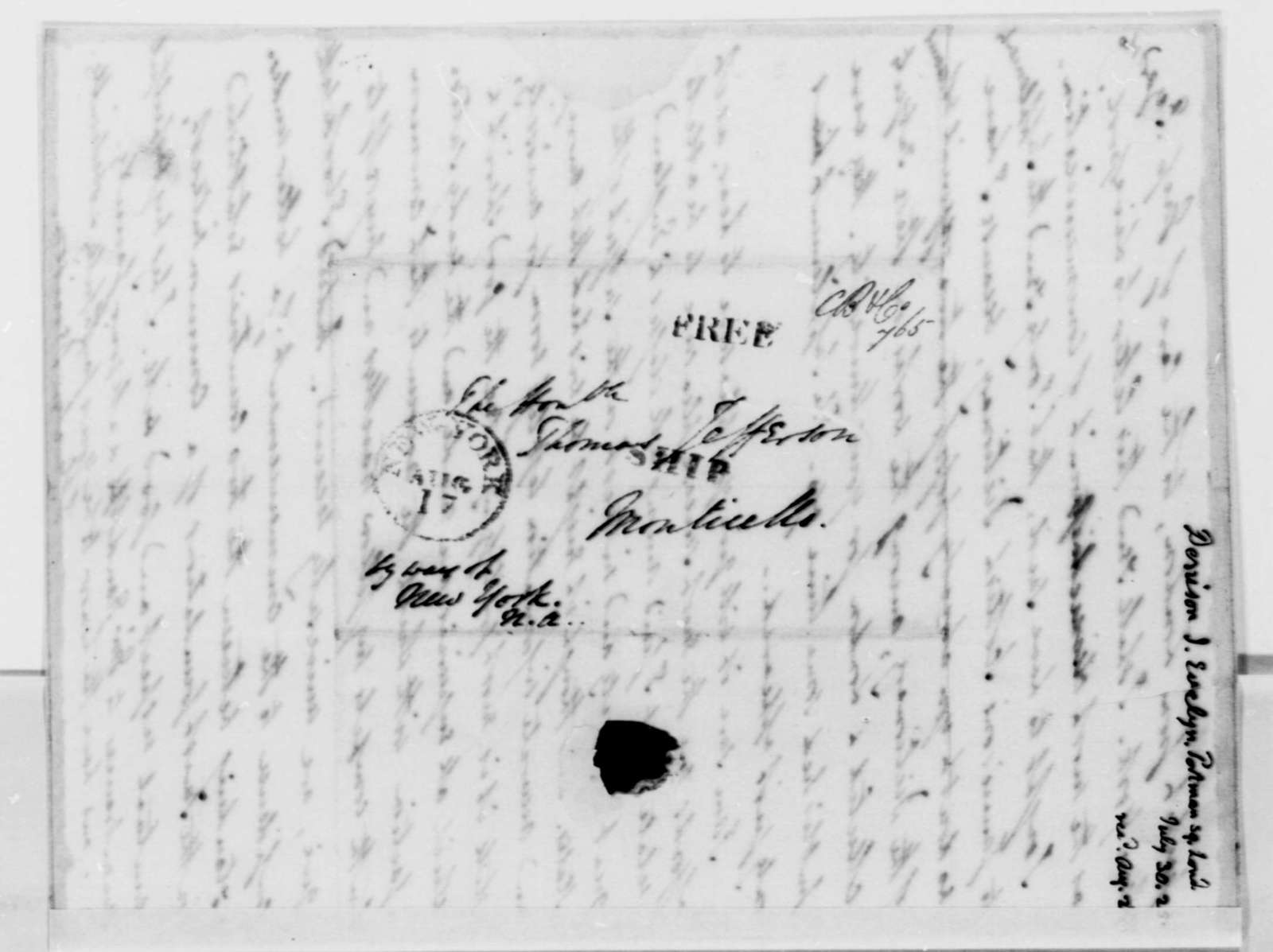 J. Evelyn Denison to Thomas Jefferson, July 30, 1825
