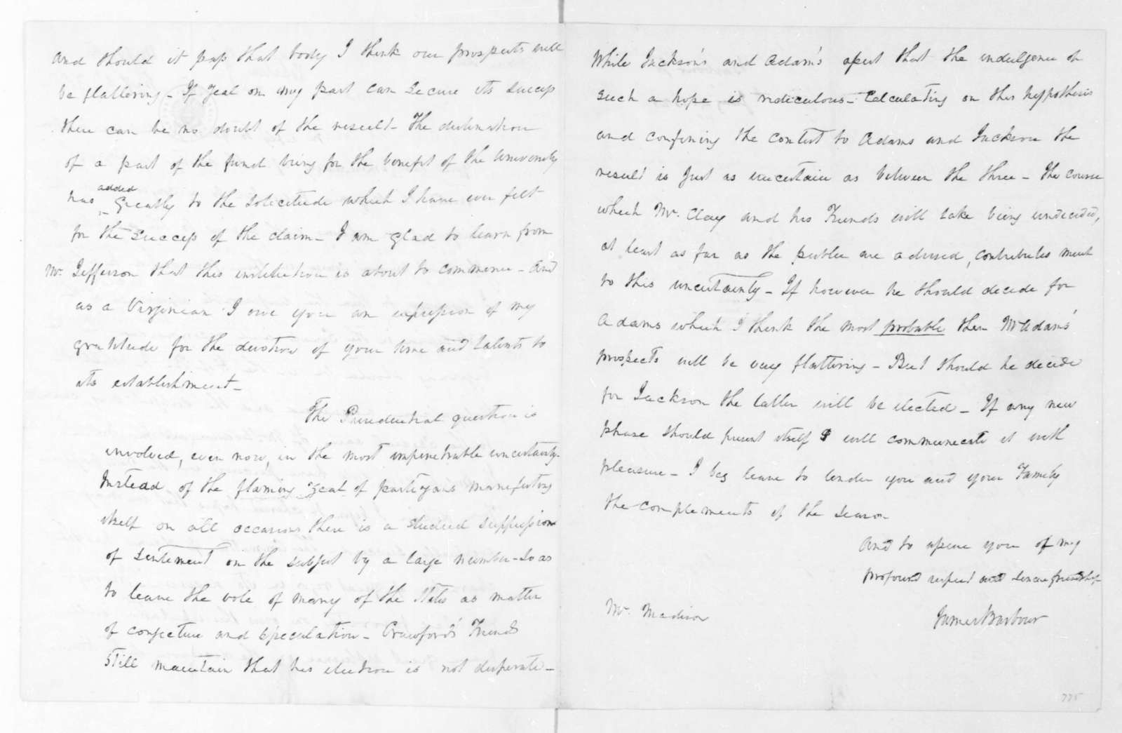 J. S. Barbour to James Madison, January 4, 1825.