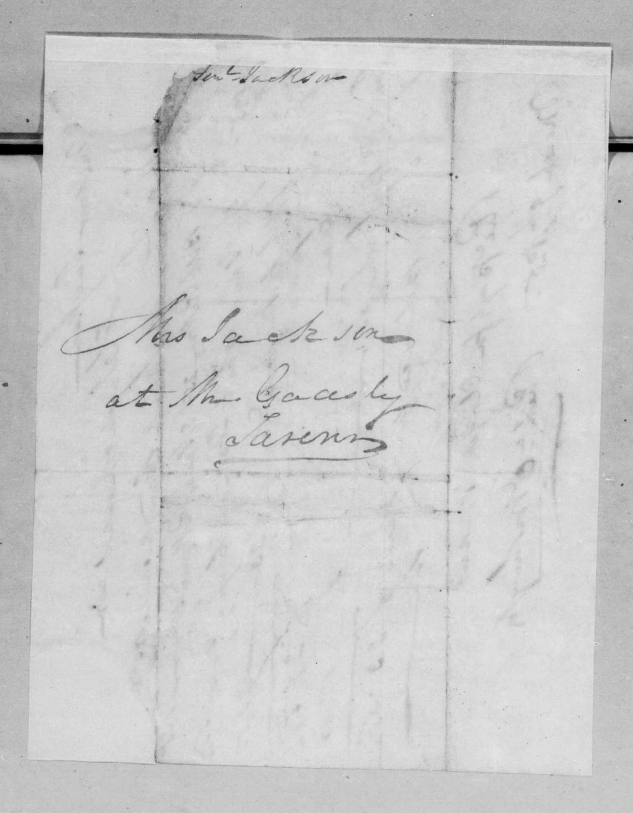 J. Washington to Andrew Jackson, March 9, 1825