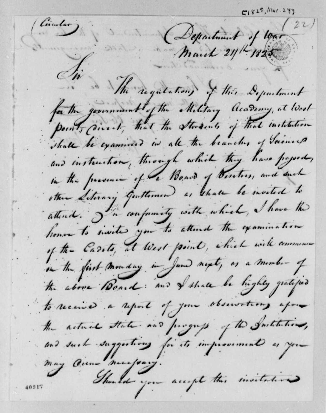 James Barbour to Thomas Jefferson, March 24, 1825, Circular