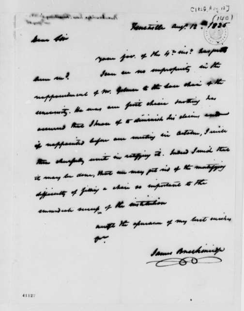 James Breckinridge to Thomas Jefferson, August 12, 1825