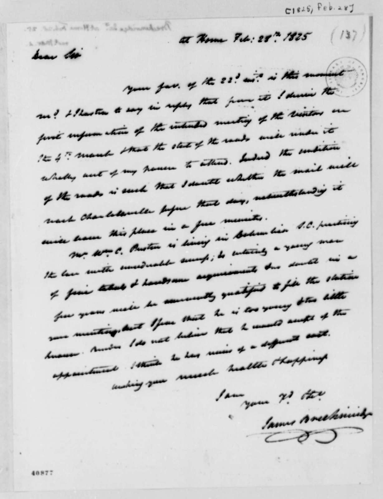 James Breckinridge to Thomas Jefferson, February 28, 1825