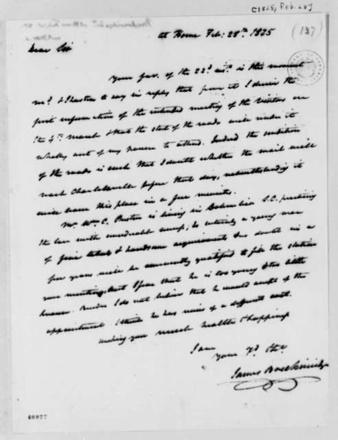 James Breckinridge to Thomas Jefferson, February 28, 1825