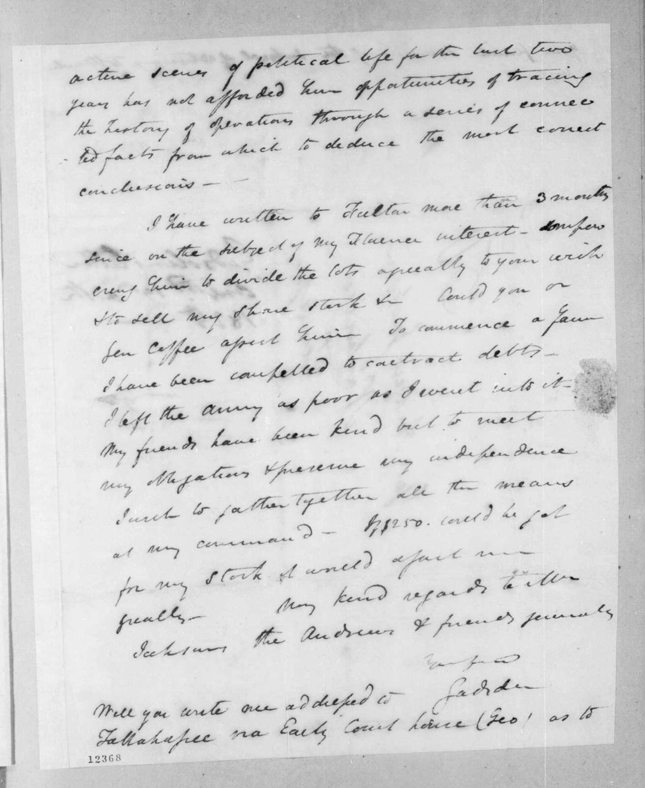 James Gadsden to Andrew Jackson, September 15, 1825