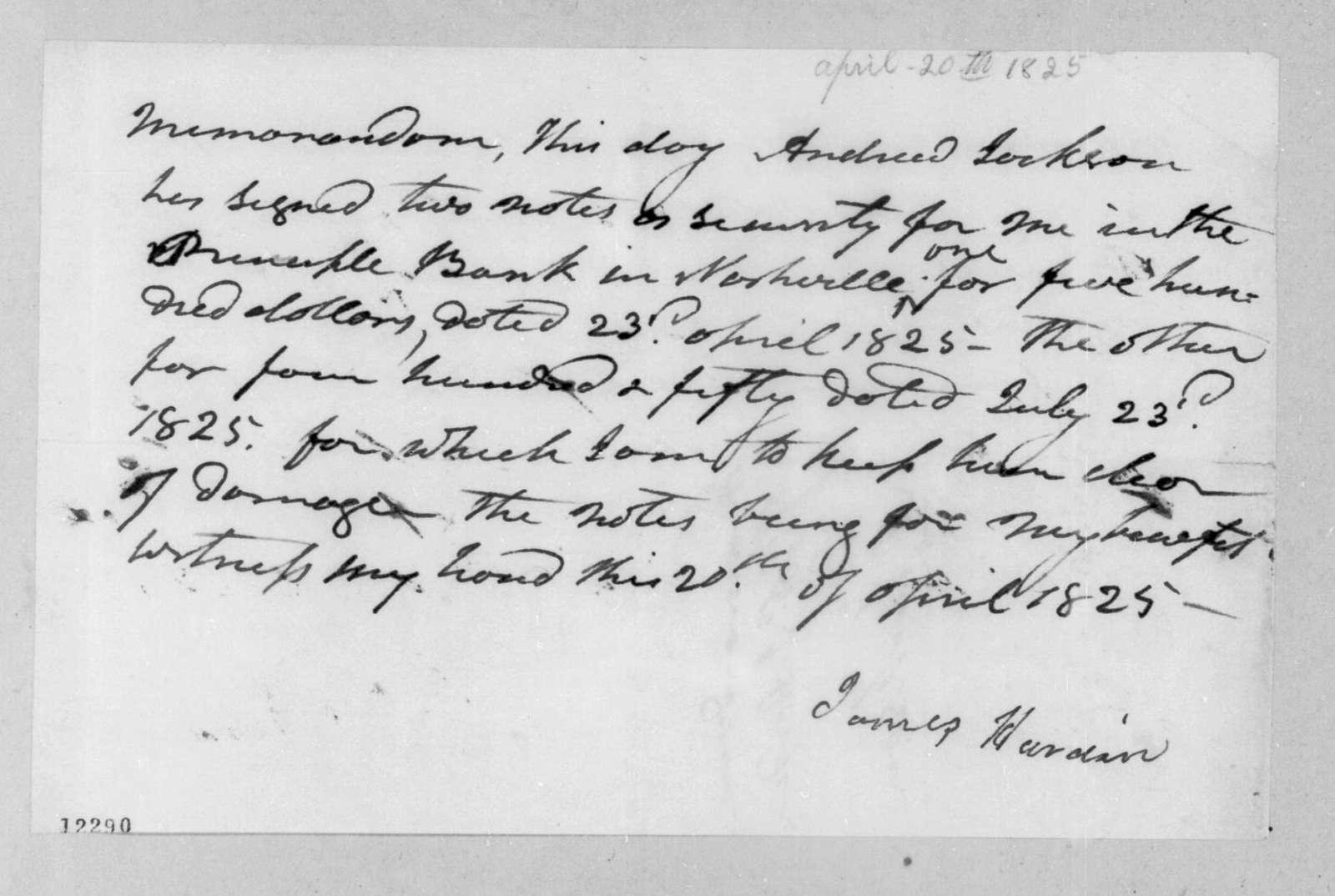 James Hardin, April 20, 1825