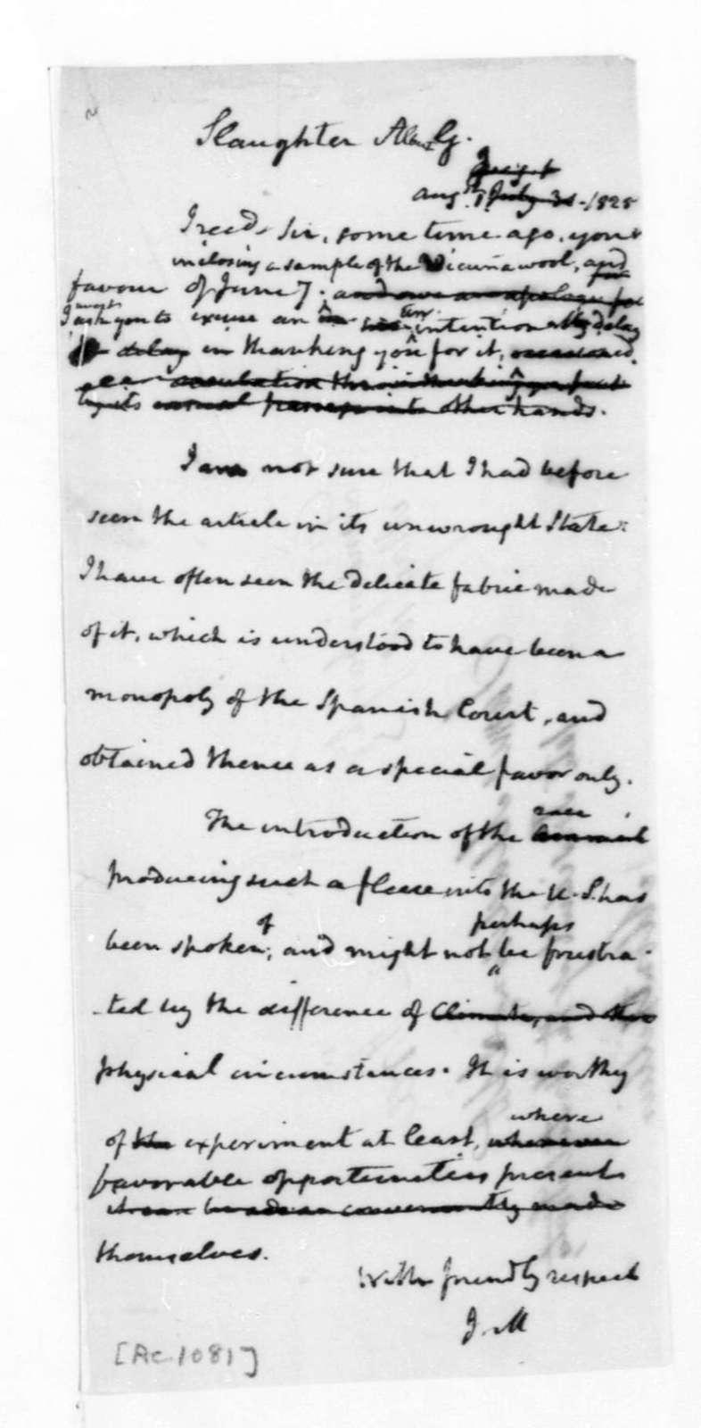 James Madison to Albert G. Slaughter, August 1, 1825.