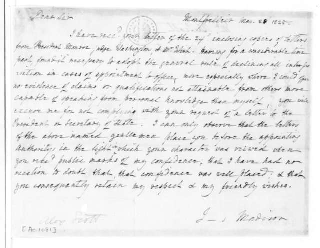 James Madison to Alexander Scott, March 28, 1825.
