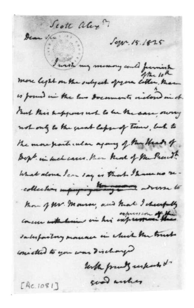 James Madison to Alexander Scott, September 15, 1825.