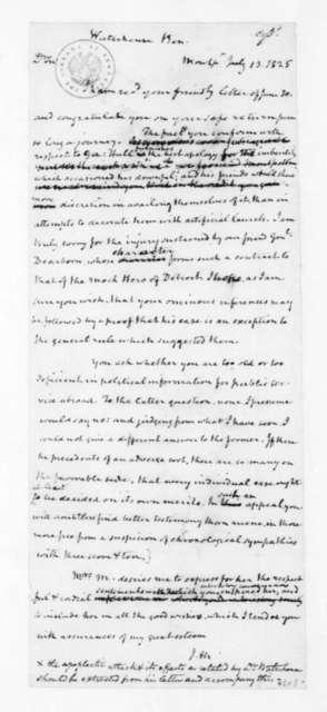 James Madison to Benjamin Waterhouse, July 13, 1825.