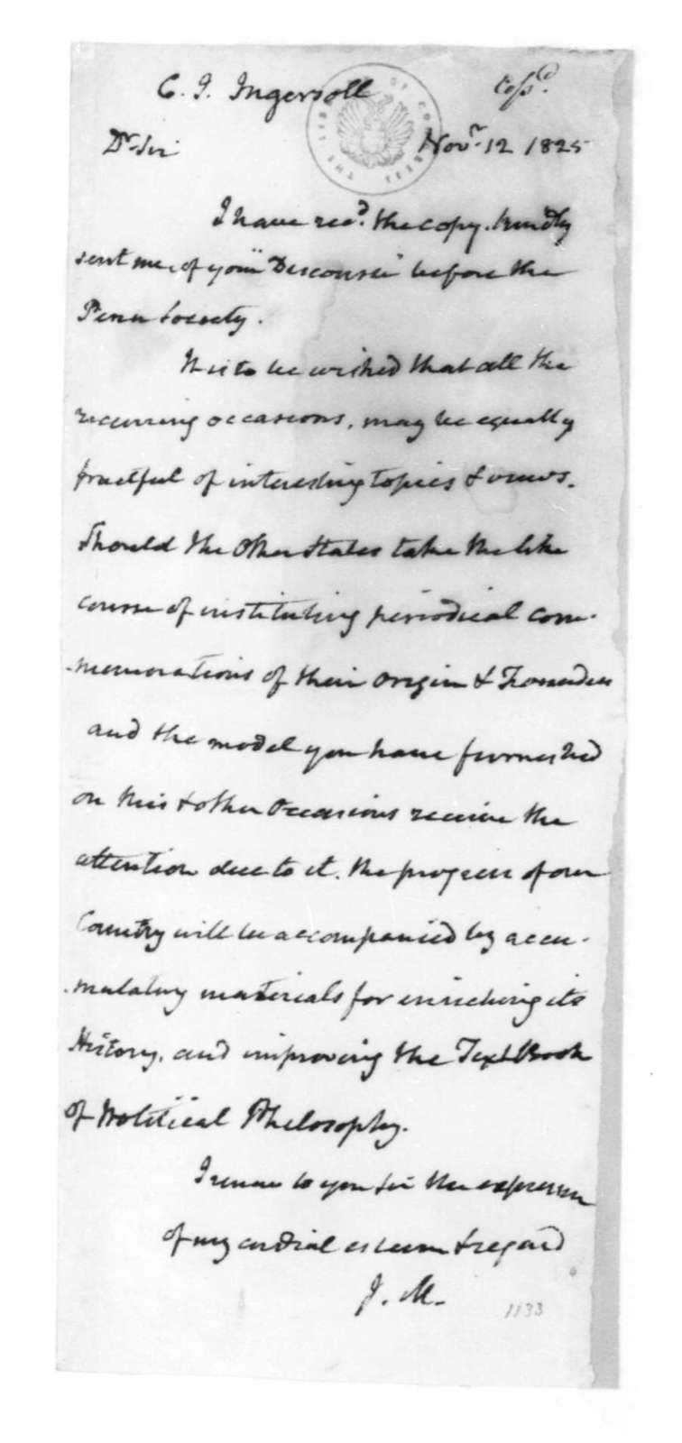 James Madison to Charles J. Ingersoll, November 12, 1825.