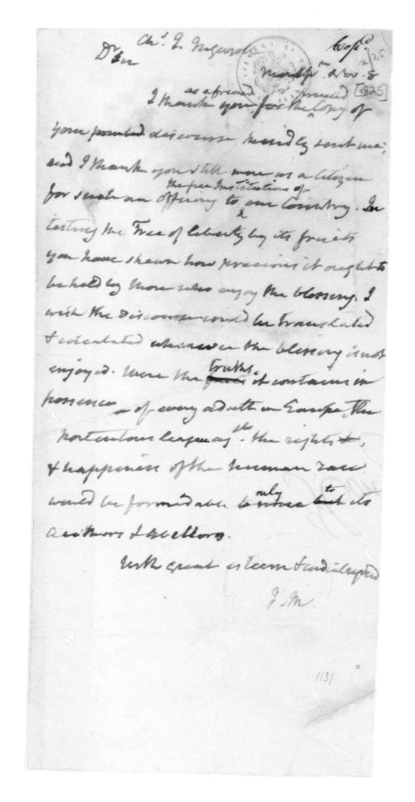 James Madison to Charles J. Ingersoll, November 8, 1825.