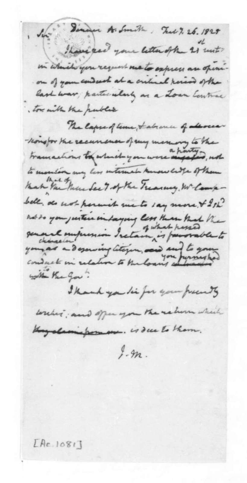 James Madison to D. A. Smith, February 26, 1825.