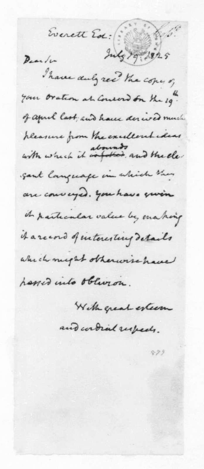 James Madison to Edward Everett, July 19, 1825.