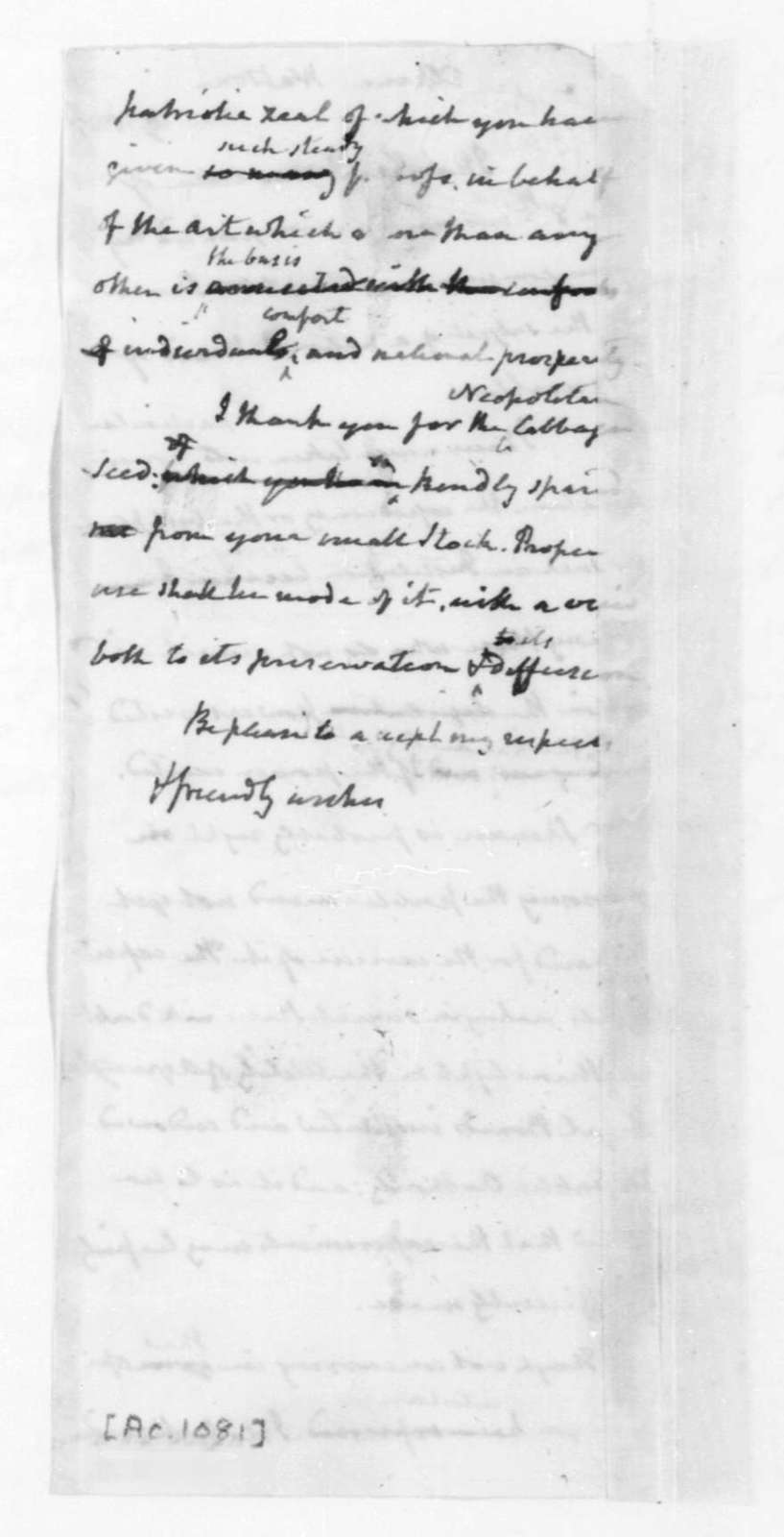 James Madison to Elkanah Watson, March 18, 1825.