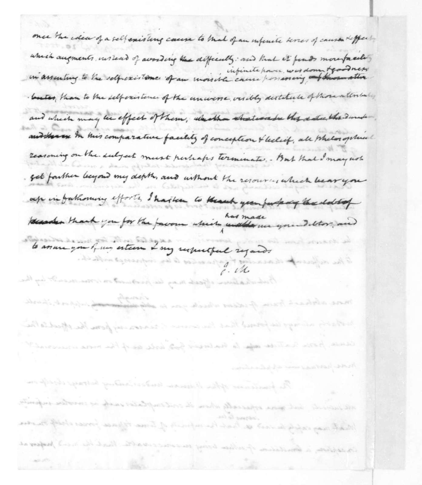 James Madison to F. Beasley, November 20, 1825.