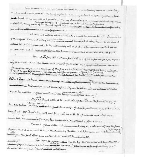 James Madison to Frances Wright, September 1, 1825.