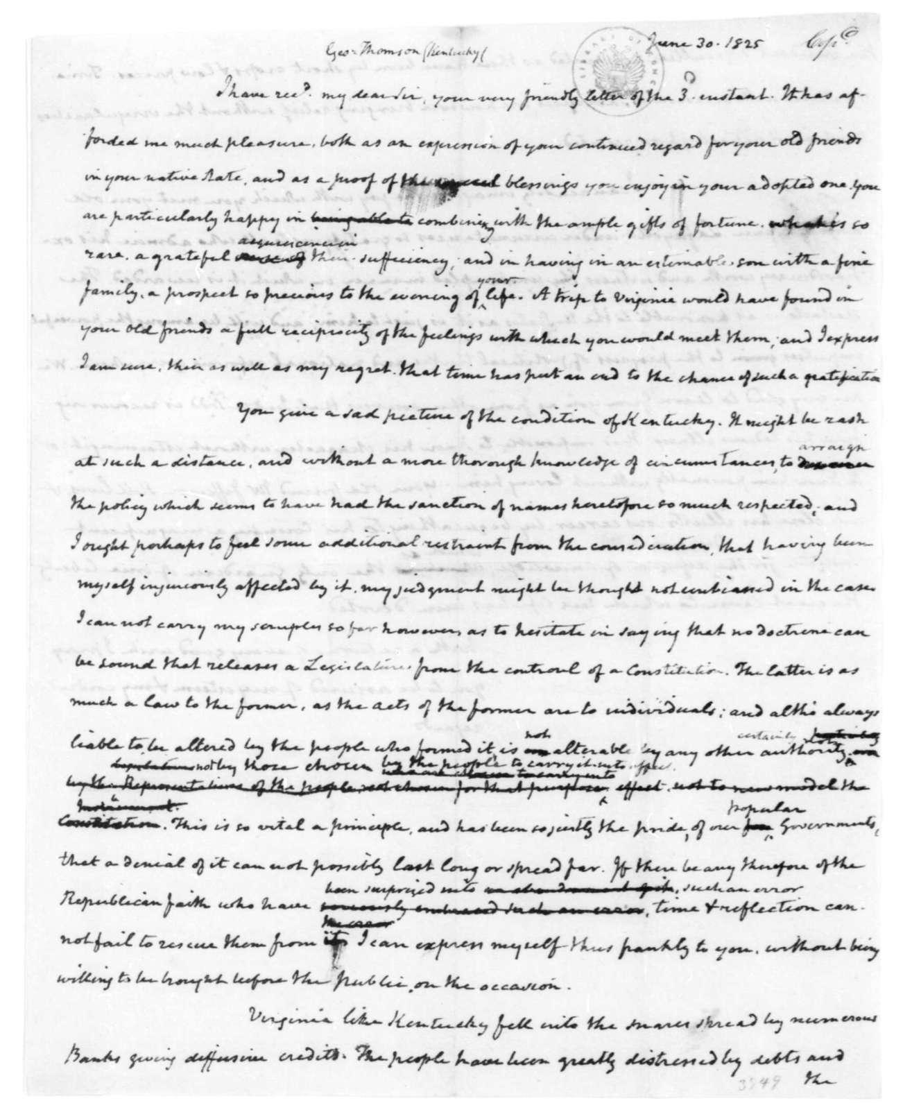 James Madison to George Thomson, June 30, 1825.