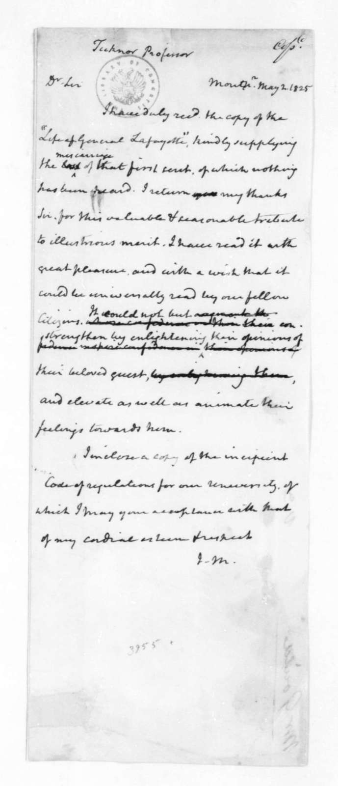 James Madison to George Ticknor, May 2, 1825.