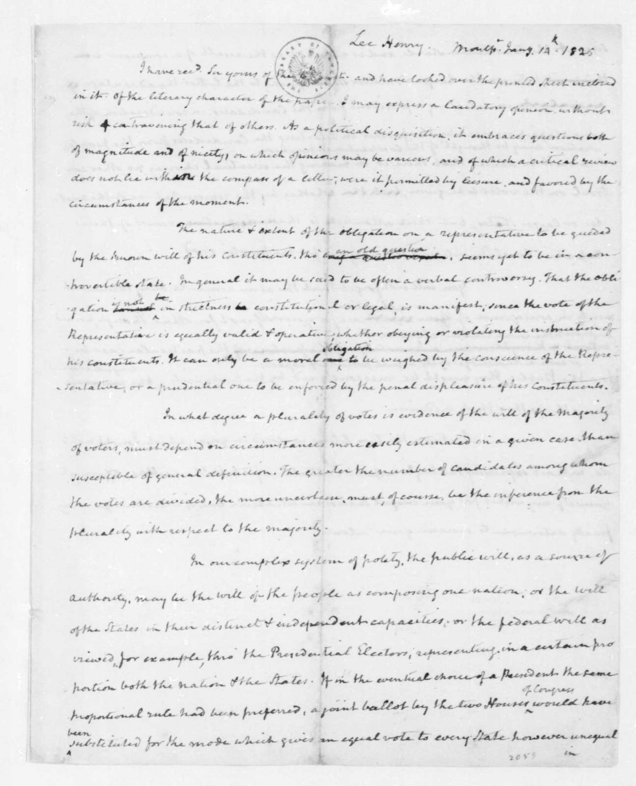 James Madison to Henry Lee, January 14, 1825.
