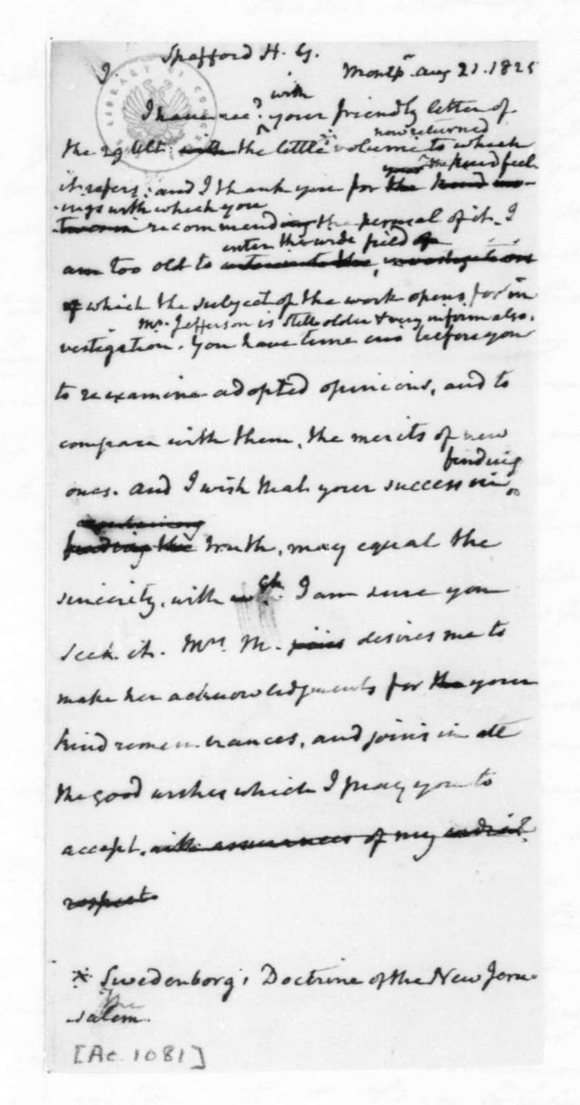 James Madison to Horatio Gates Spafford, August 21, 1825.
