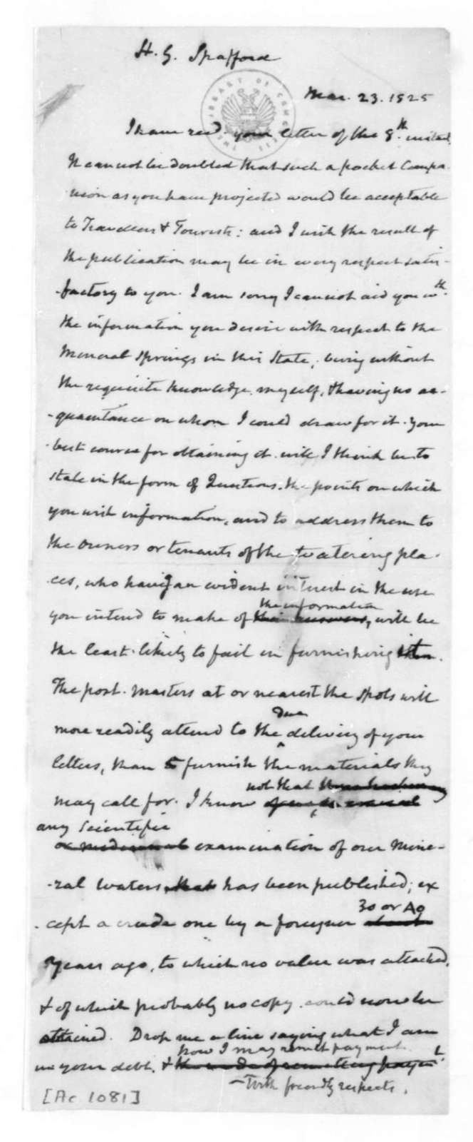 James Madison to Horatio Gates Spafford, March 23, 1825.