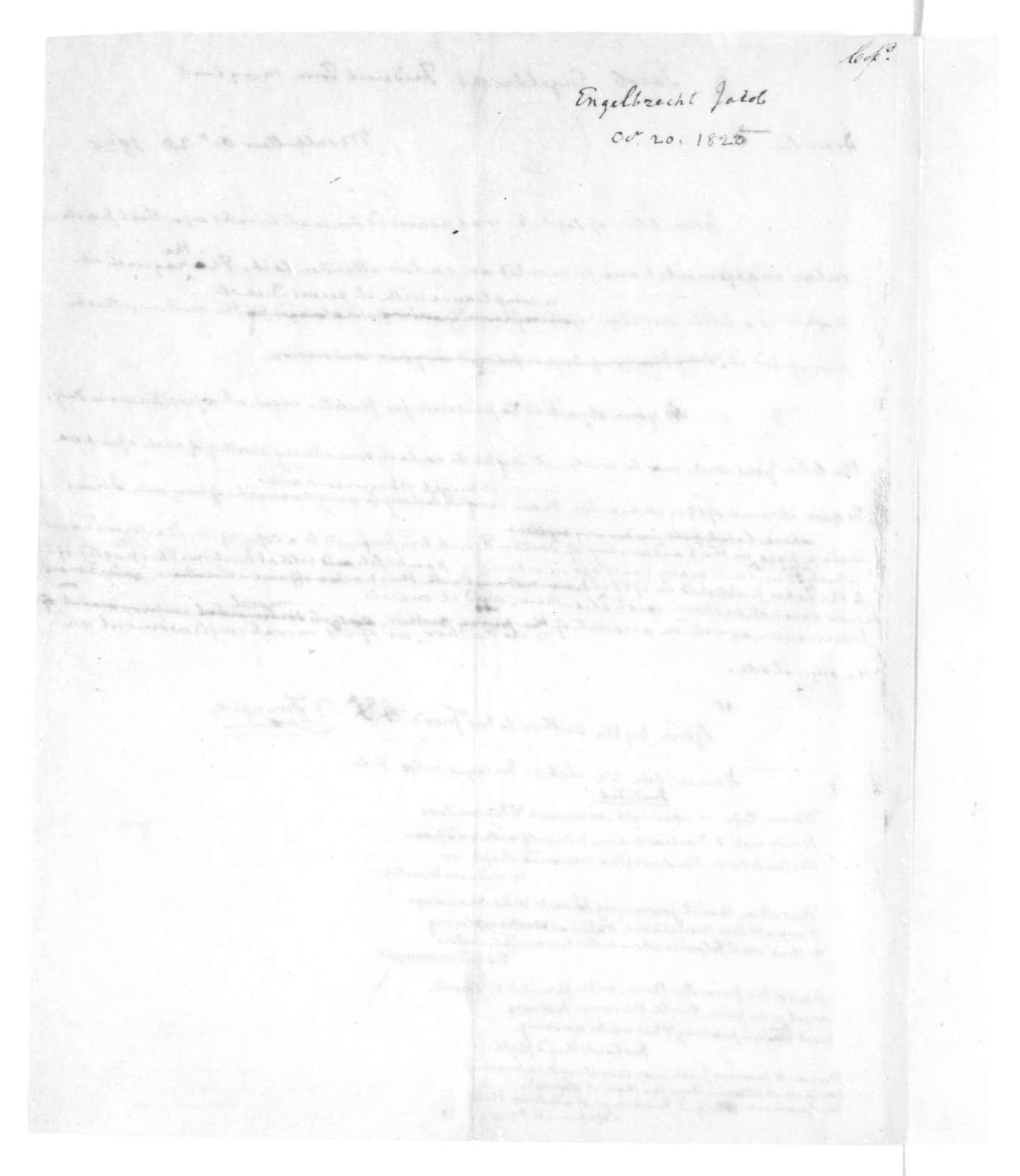 James Madison to Jacob Engelbrecht, October 20, 1825.