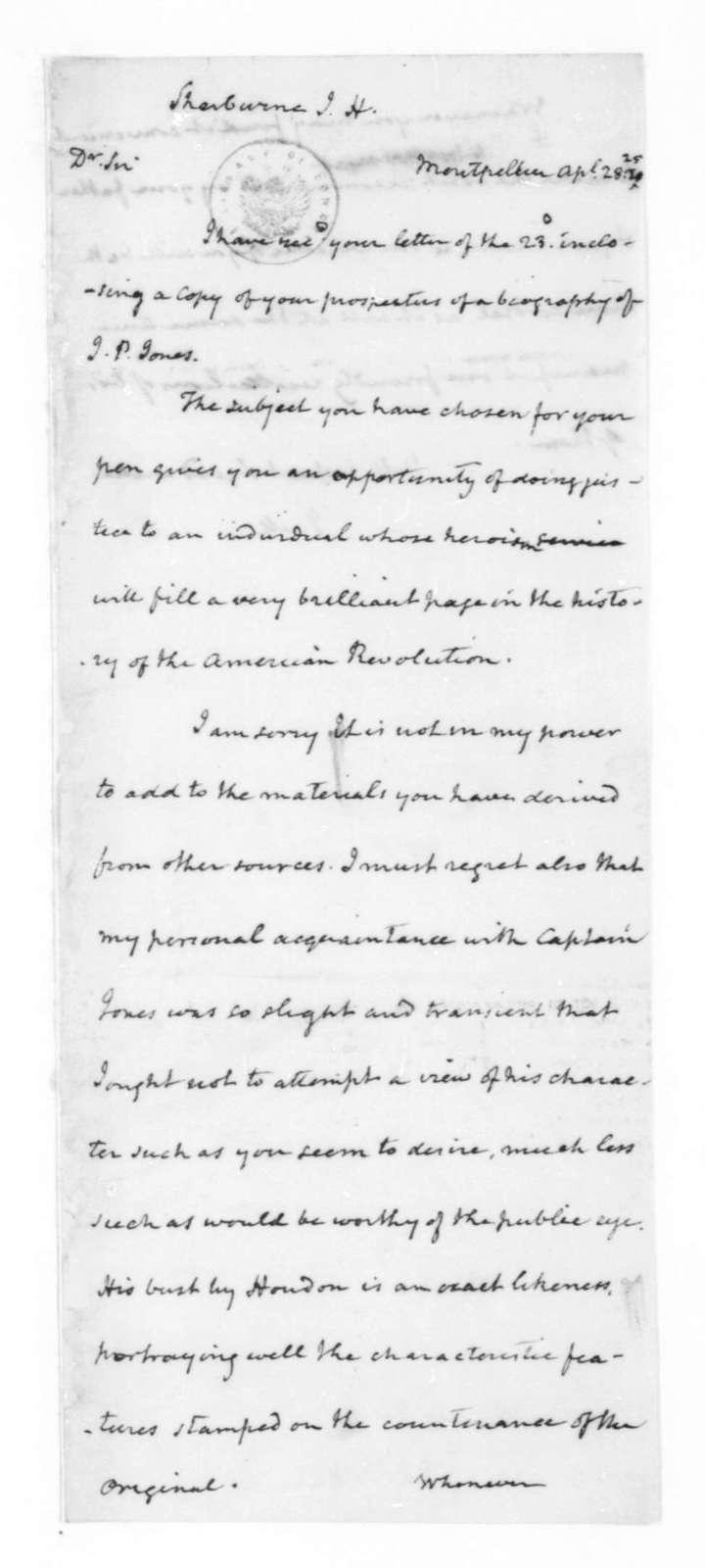 James Madison to John Henry Sherburne, April 28, 1825.
