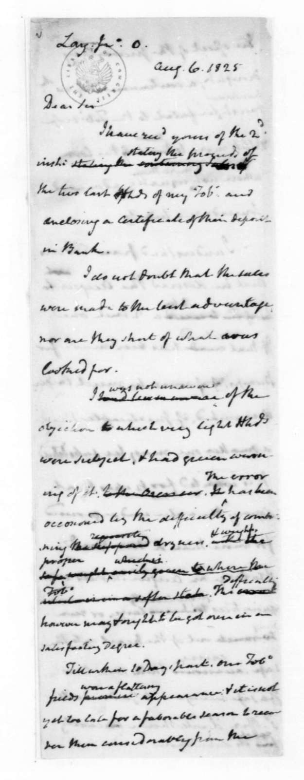 James Madison to John O. Lay, August 6, 1825.