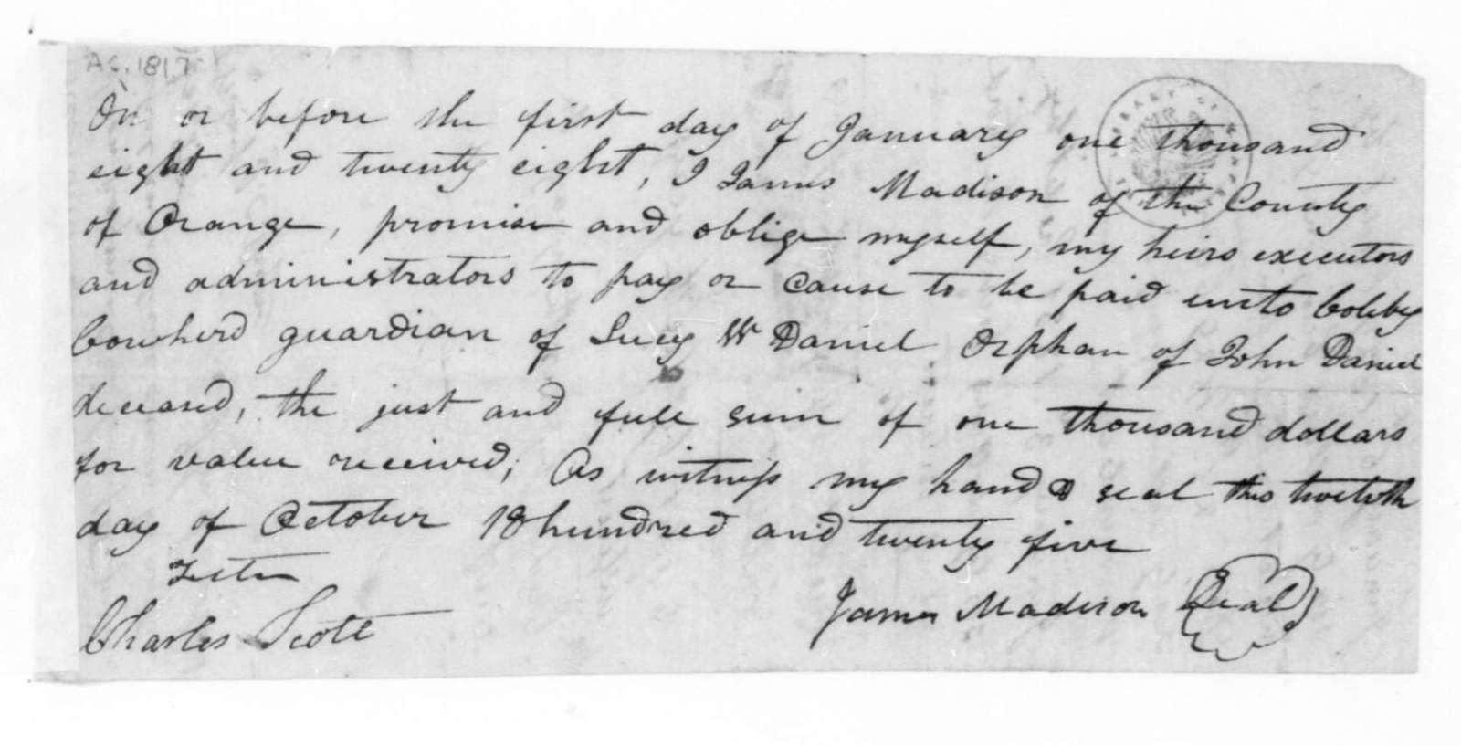 James Madison to John S. Cowherd, October 20, 1825. Promissory Note.