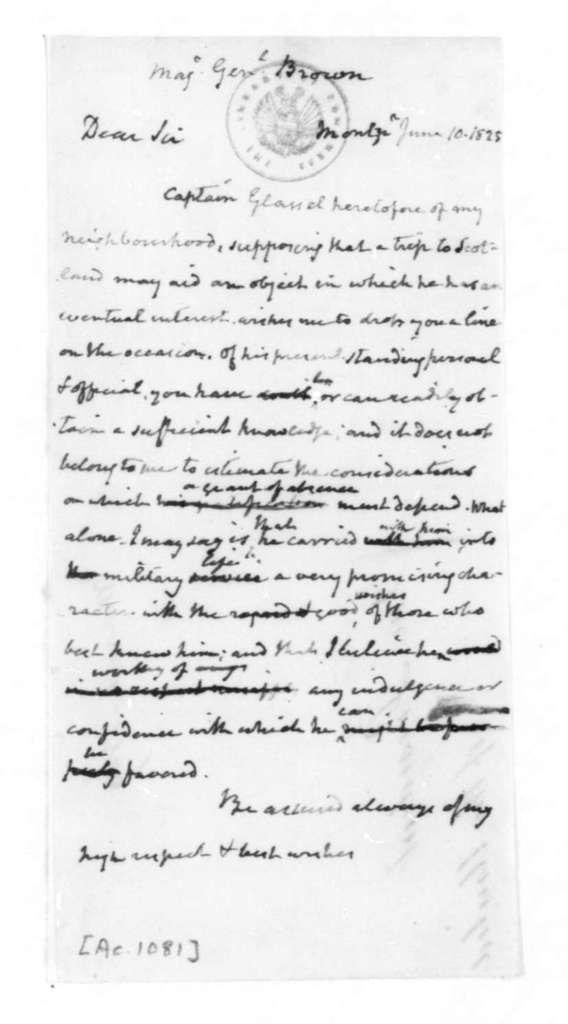 James Madison to Maj. General Brown, June 10, 1825.