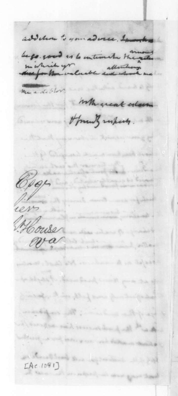 James Madison to Robley Dunglison, August 27, 1825.