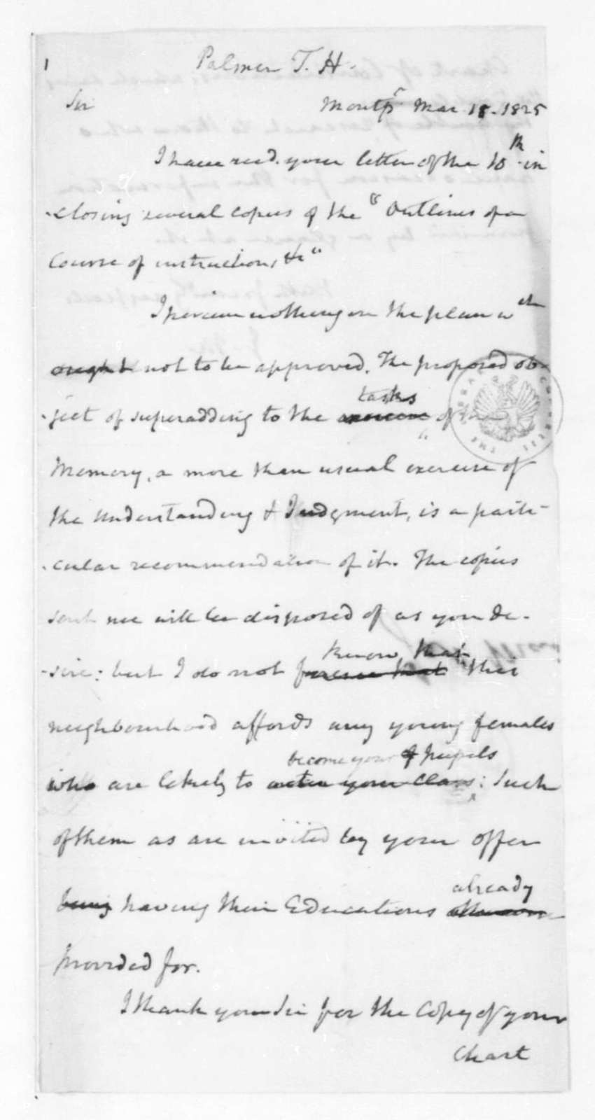 James Madison to Thomas H. Palmer, March 18, 1825.