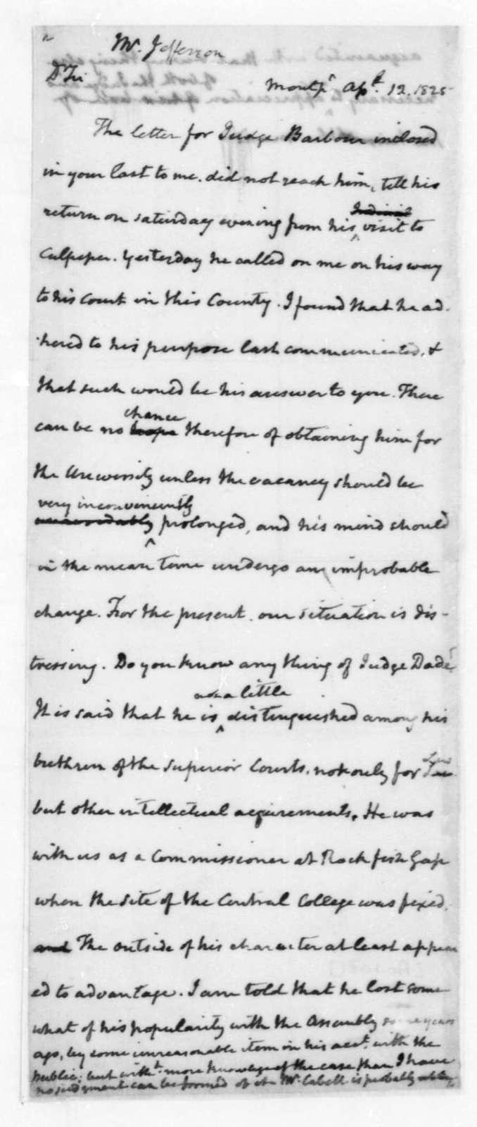 James Madison to Thomas Jefferson, April 12, 1825.