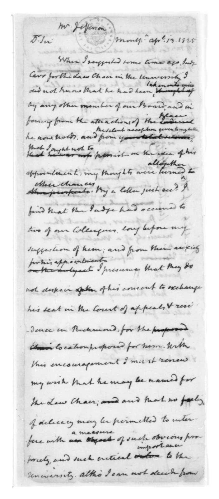 James Madison to Thomas Jefferson, April 13, 1825.