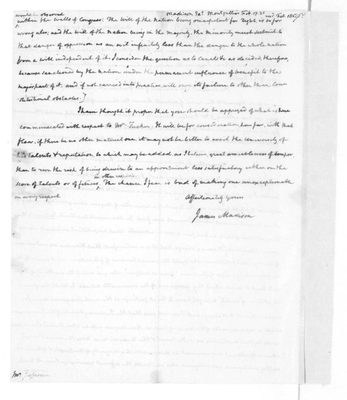 James Madison to Thomas Jefferson, February 17, 1825. With Copy.